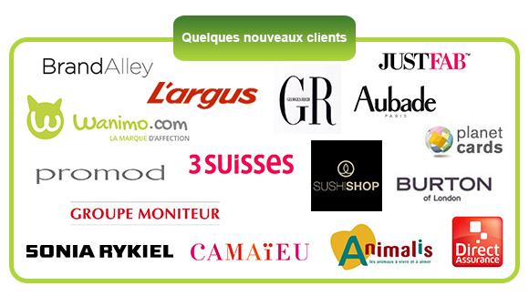 Quelques nouveaux clients - Brand Alley - L'argus - Wanimo - 3 Suisses - promod - Groupe Moniteur - Sonia Rykiel - Camaïeu - Georges Rech - Sushi Shop - Animalis - Just Fab - Aubade - planet cards - Burton of London - Direct Assurance